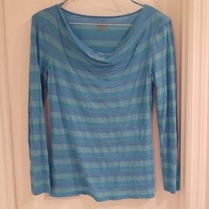 Ann Taylor Blue Stripe Shirt Small